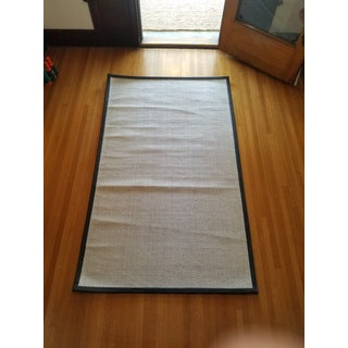 Contemporary Wool & Black Leather Rug - 5' X 8' Preview