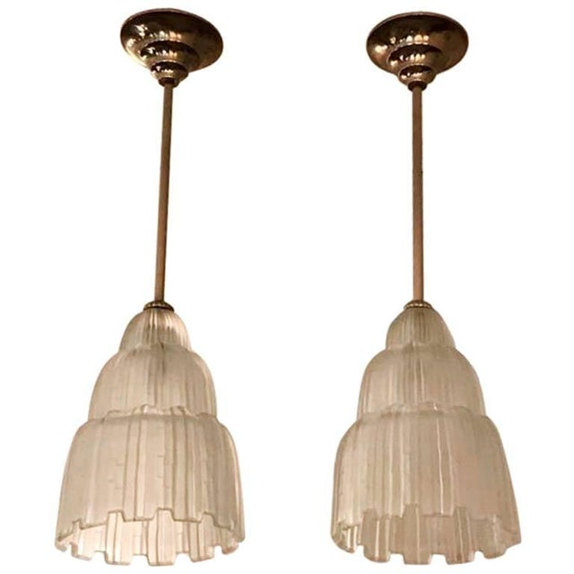 French Art Deco Waterfall Chandeliers Signed by Sabino - a Pair For Sale - Image 11 of 11