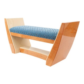 French Art Deco Style (Modern) Maple & Sycamore Wood Bench For Sale
