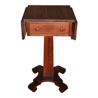 Antique Empire Solid Mahogany Drop Leaf Work Table Entry End Table Night Stand For Sale