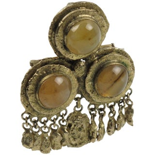 French Henry Perichon Medieval Gilt Bronze Pin Brooch With Agate Cabochon For Sale