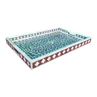 Gray Floral Bone Inlay Serving Tray For Sale