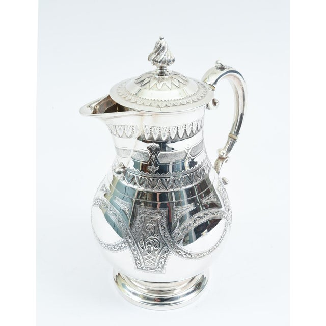 English Traditional English Silver Plate Ornate Detailed Tea / Coffee Pot For Sale - Image 3 of 10