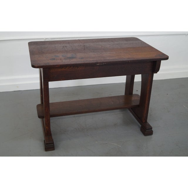 Antique Mission Oak Library Table - Image 4 of 10