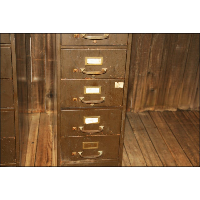 Vintage Industrial Metal Filing Cabinets - Pair - Image 5 of 11