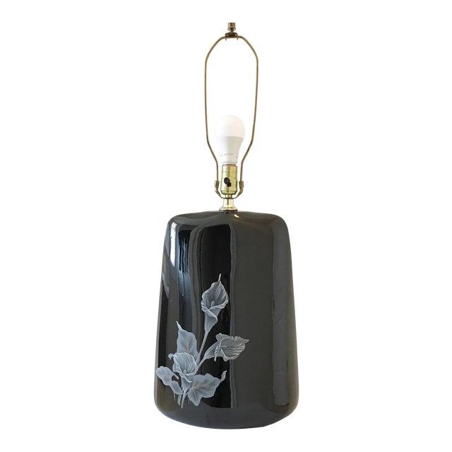 1980s Large Art Deco Black Floral Ceramic Table Lamp For Sale