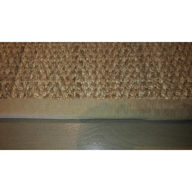 """Jute area rug 13'0""""x 15'7"""" natural birch coloration, bound on all four sides with 2"""" wide linen binding. No Pad included...."""