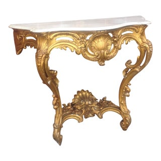 Antique 19th Century French Gilt Marble Top Console For Sale