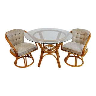 Vintage 50's Bamboo Rattan Dining Table & Chairs