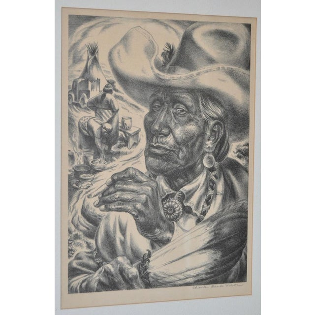 "Charles Banks Wilson ""Old Injun"" Pencil Signed Lithograph c.1948 For Sale - Image 4 of 7"