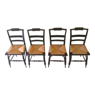 Antique Hitchcock Style Boling Chairs - 4 Available For Sale
