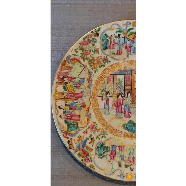 Chinese Chinese Rose Mandarin Pattern Porcelain Charger, Framed For Sale - Image 3 of 11