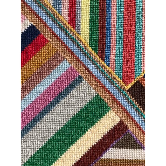 """Large Geometric Colorful Original Needlepoint Art - 36.35"""" x 22.25"""" - Image 10 of 11"""