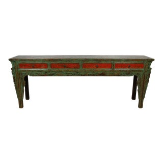 20th Century Antique Chinese Painted Long Console Table For Sale