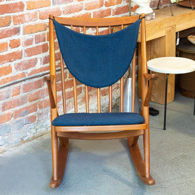 Stunning Danish modern rocking chair by Bramin Mobler! This piece is as comfortable and functional as it is beautiful! The...