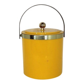 1960s Mid Century Modern Yellow Plastic Brass Handled Ice Bucket