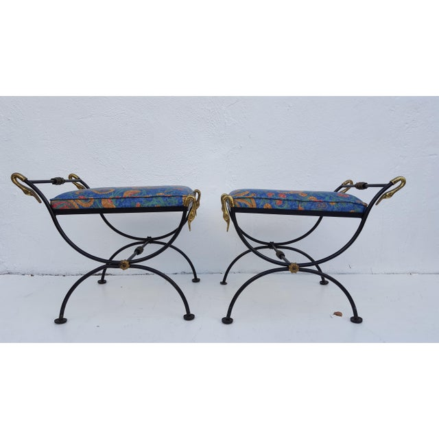 Italian Brass Swan Motif Stools - A Pair For Sale - Image 10 of 11