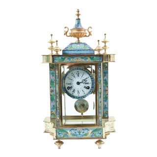 Mid-20th Century Brass or Glass Frame Mantel Clock For Sale