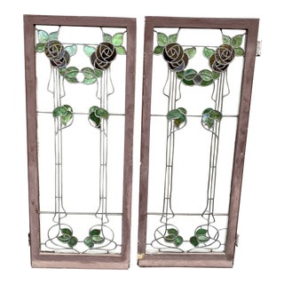 Stained Glass Windows from Joseph Cather Newsom Home - a Pair For Sale