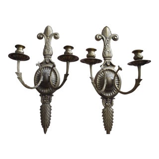 Bronze Victorian 2-Arm Candlestick Wall Sconces - A Pair
