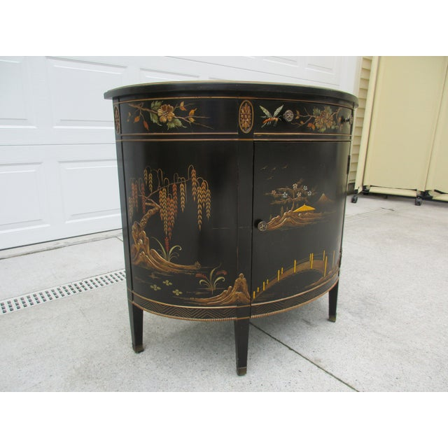 Imperial Furniture, Grand Rapids 20th Century Chinoiserie Black Lacquered Demi-Lune Commode or Cabinet For Sale - Image 4 of 11