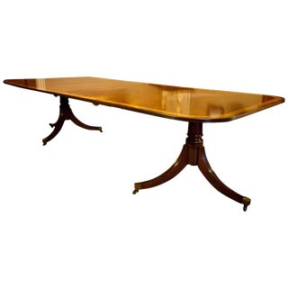 Regency Style Mahogany 2-Pedestal Dining Table, Seats 12 For Sale