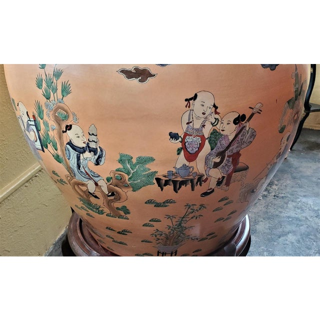 Brown Large Chinese Fish Bowl Side Table With Stand For Sale - Image 8 of 13