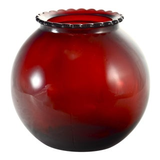 Ruby Red Glass Ball Vase For Sale
