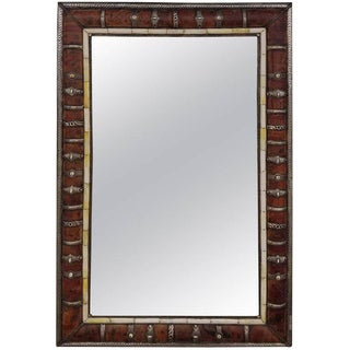Moroccan Leather and Metal Inlaid Rectangular Mirror For Sale