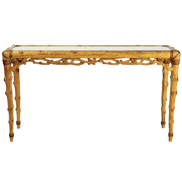 Faux Bois Carved Wood and Glass Console Table For Sale