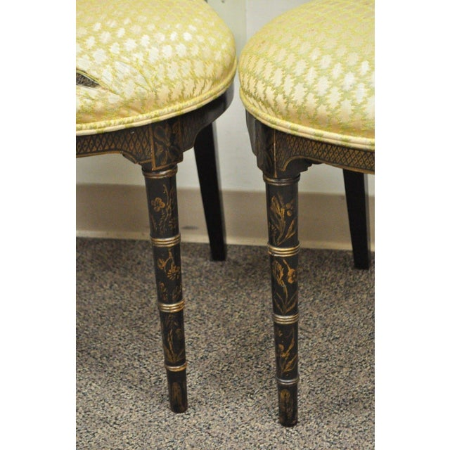 Yellow Pair of Antique Chinoiserie Oriental Japanned Black Painted Pagoda Side Chairs For Sale - Image 8 of 11