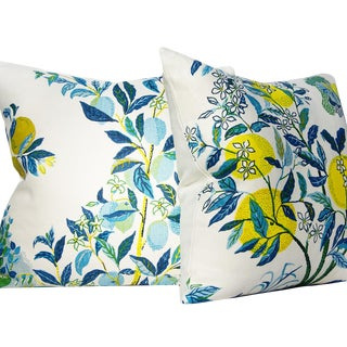 Cottage Schumacher Josef Frank Citrus Garden Pillow Covers - a Pair For Sale