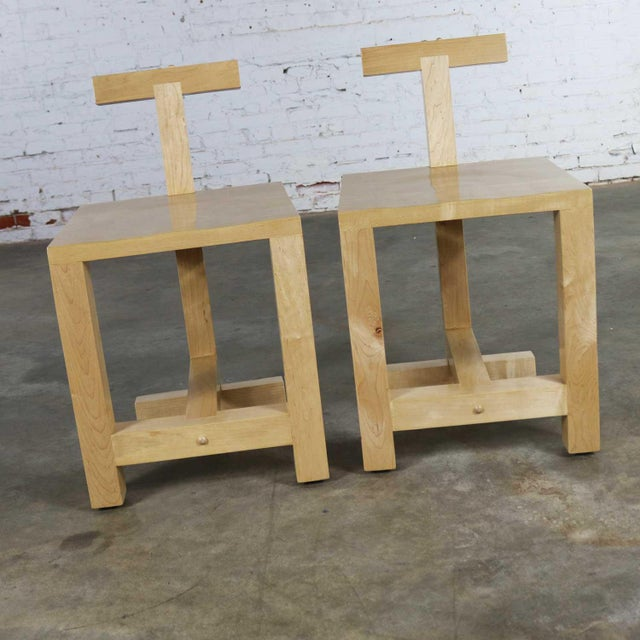 Wonderful pair of Post-Modern hand-crafted maple chairs signed by artist Brice B. Durbin and dated March 1996. Reminiscent...