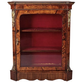 French Burl Wood Pier Cabinet with Ormolu Mounts For Sale
