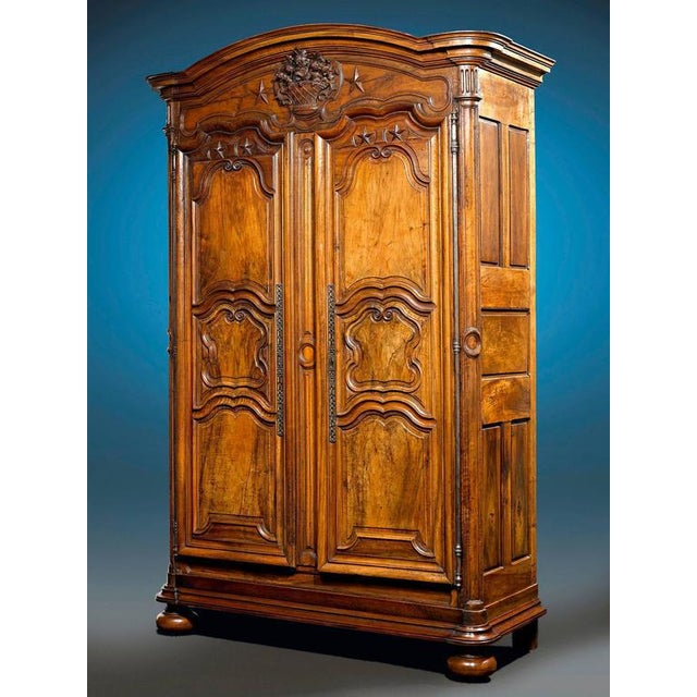 French Provincial Walnut Armoire For Sale - Image 4 of 5