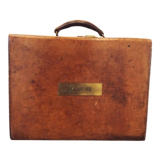 19th Century English Leather Portmanteau Bag For Sale