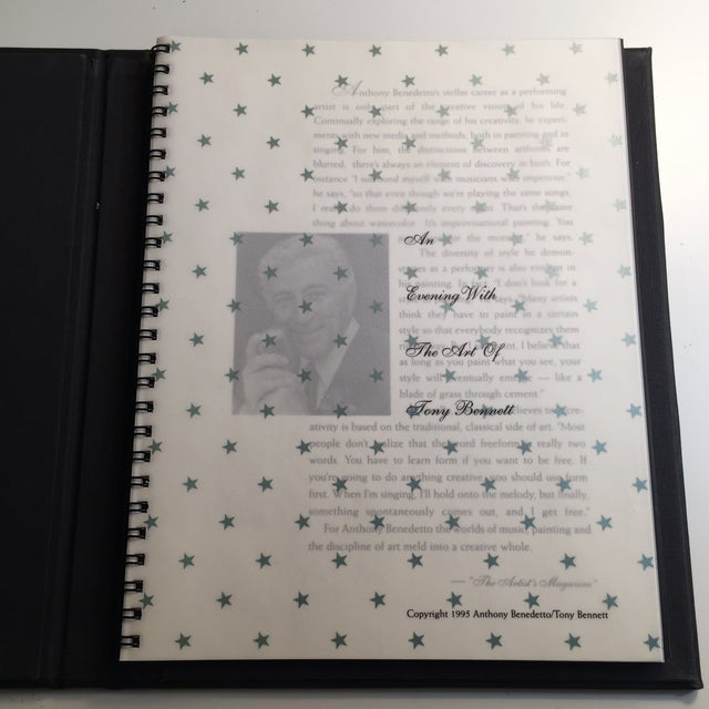 An Evening with the Art of Tony Bennett. Copyright Tony Bennett. 1995. Soft, leather-like covered portfolio. 22pp. One...