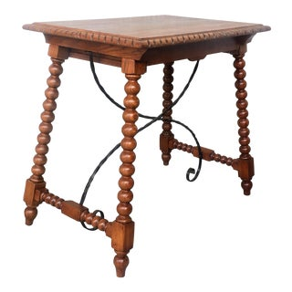 19th Century Spanish Farm Table With Iron Stretchers, Hand Carved Top and Drawer For Sale