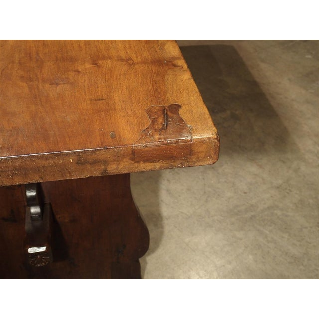 Metal Antique Walnut Refectory Table From Tuscan Mountain Region C. 18th Century For Sale - Image 7 of 13