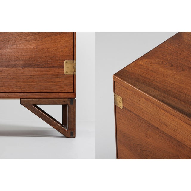 Brown Scandinavian Modern Svend Langkilde Cabinet in Rosewood and Brass - 1950 For Sale - Image 8 of 11