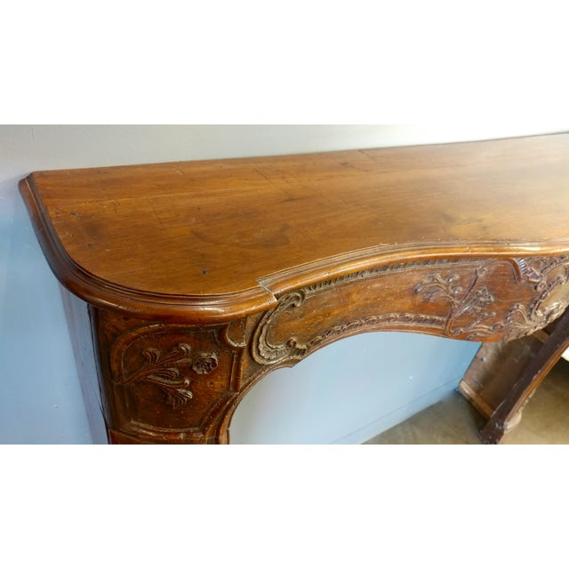 19th Century Hand Carved Walnut Fireplace Mantel - Image 7 of 10