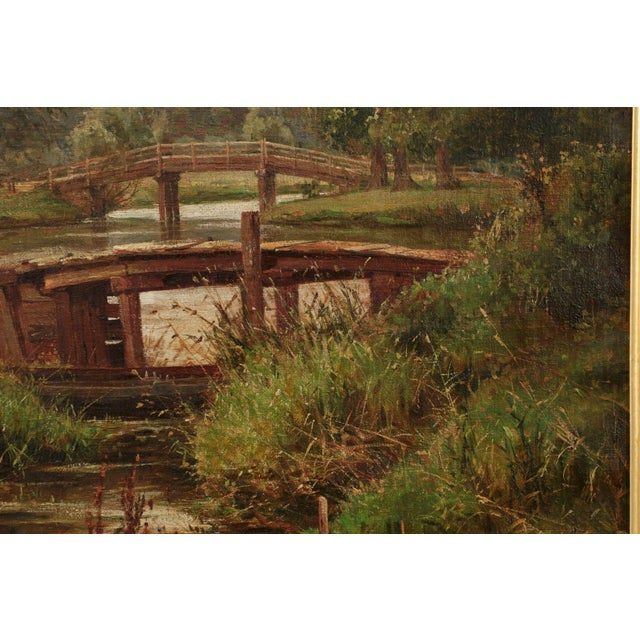 19th Century Landscape Painting of Bridges over Stream by Clarence Roe - Image 6 of 10