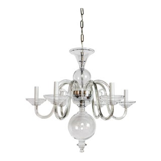 2010's Preciosa Clear Glass Chandelier For Sale