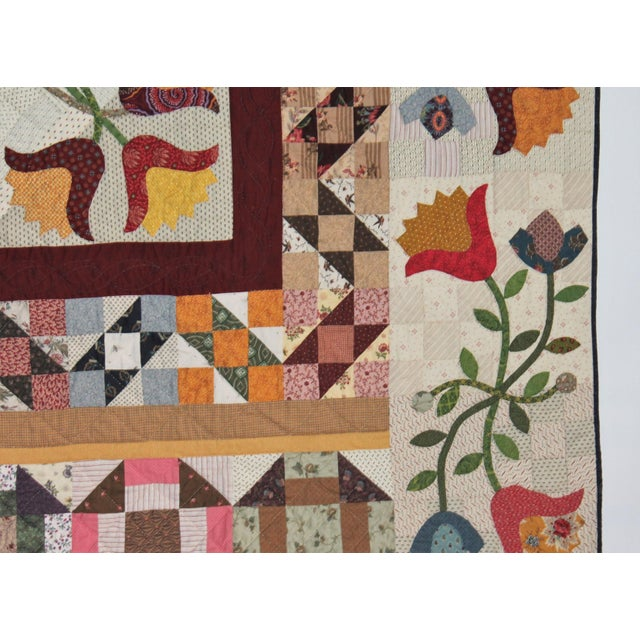 20th Century Amazing Center Star Medallion Quilt - Image 6 of 9
