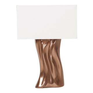 Amorph Doris Table Lamp in Bronze Finish and Ivory Silk Shade For Sale