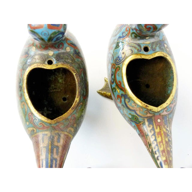 Antique Chinese Cloisonne Duck Censors - Pair - Image 8 of 10