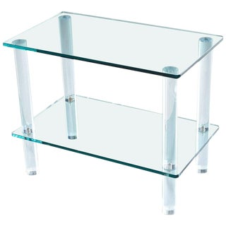 Leon Rosen for Pace Collection Style Lucite Screw Leg and Glass Cocktail Table For Sale
