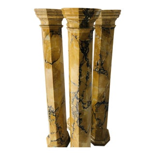 "Architectural Marble Columns in Vein Butterscotch 26.5""t For Sale"