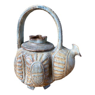 Mid-Century Artisan Crafted Sculptural Teapot For Sale