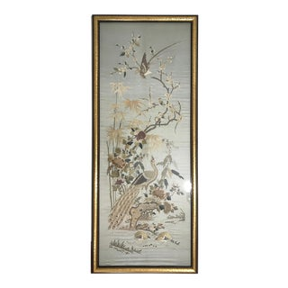 Antique Chinoiserie Pale Blue Embroidered Silk Wall Panel Hanging of Exotic Asian Birds & Flowers, Framed For Sale